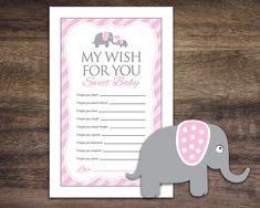 """Instant Download Pink Elephant Theme Baby Shower Wishes for Baby Cards by Studio20Designs. TO PLAY: This printable baby shower game comes 2-up on an 8.5""""x11"""" sheet for easy printing. Guests write down their wishes for the future of the new baby. Great keepsakes for the new mom-to-be!"""