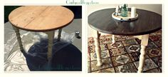 I want to do this to the kitchen table!!    Quirky Cool...: DIY Two Toned Stained Table