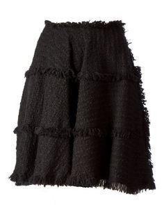 Lanvin | Black Fringe Detail Tweed Skirt | Lyst