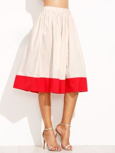 Beige And Red Elastic Waist Pleated Skirt