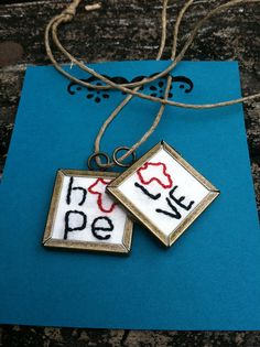 Hope and Love Africa Pendant-necklace set. via Etsy.