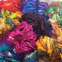 Brand new Sari Silk ribbons, just in. 8 colors available. Fair trade yarn, creating jobs for women in co-ops in India and Nepal.   Beautiful ribbon, and a great cause!