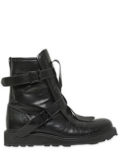 Belted Calf Leather Boots