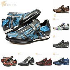 Sneaker Leder 3cm Unisex Handarbeit Damen Herren Blau Rot Python Apropos