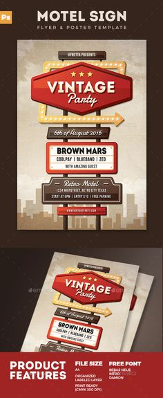 Motel Sign Flyer Poster  PSD Template • Download ➝ https://graphicriver.net/item/motel-sign-flyer-poster/17072099?ref=pxcr