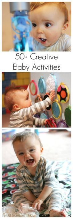 Over 50 creative activities for babies Over 50 ways to entertain your baby! Creative ideas for first art projects and TONS of ideas for edible (taste-safe) sensory play from Fun at Home with Kids - Baby Development Tips Baby Kind, Baby Love, Infant Activities, Activities For Kids, 4 Month Old Baby Activities, Baby Activites, Montessori Activities, Baby Lernen, Creative Activities