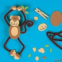 Accordion Animals Crafts for Kids Preschool and Kindergarten Kids Crafts, Preschool Crafts, Art Carton, Craft Kits, Craft Projects, Craft Ideas, Jungle Crafts, Monkey Crafts, Pipe Cleaner Crafts