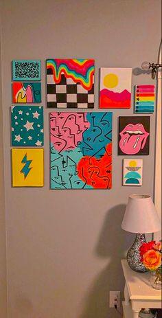 Easy Canvas Art, Simple Canvas Paintings, Small Canvas Art, Cute Paintings, Mini Canvas Art, Diy Canvas, Indie Kunst, Indie Art, Hippie Painting