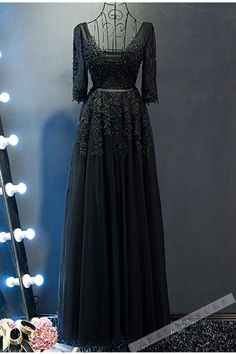 Lace appliqued black tulle prom dress, ball gown, elegant long dress with half sleeves