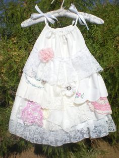 Little Girl's Vintage Ruffles Boho Shabby Chic Lace Flowergirl Dress - Custom Order - sizes 12 month to 2T - Adjustable Top - Vintage Look In LOVE!!!