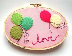 Nursery art Embroidery Hoop Art  balloon art. $36.00, via Etsy.