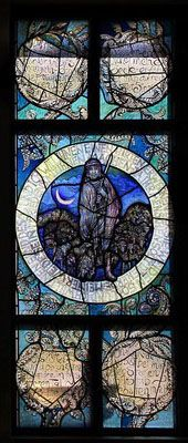 The sower; the good shepherd. Hans Gottfried von Stockhausen 1987 window in the hall, antique glass / Lead / Schwarzlot / enamel colors