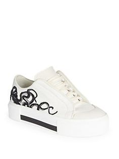 Alexander McQueen - Embroidered Canvas & Leather Low-Top Sneakers