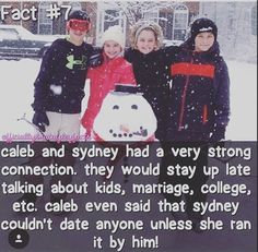 Hahaha I remember that Syd liked Caleb and Caleb liked Syd, but Hayley didn't like that cuz she didn't know better and called Caleb her boyfriend!