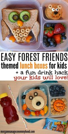 These simple Forest Friend Themed Lunch Boxes will be a hit with your kiddos! If your kid loves bears, foxes, or owls, this post has a fun lunch just for them.