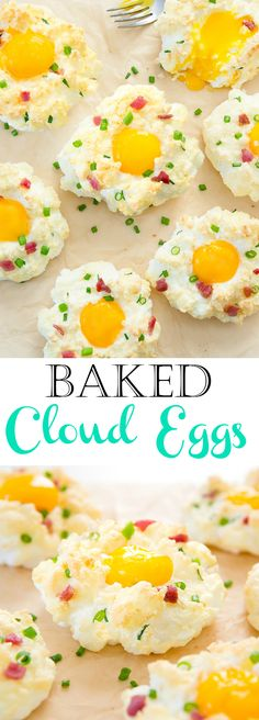Baked Cloud Eggs. A fun and low carb way to serve eggs for breakfast or brunch.
