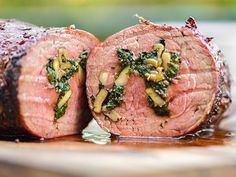 Spinach and Mushroom-Stuffed Beef Tenderloin---made on the grill!