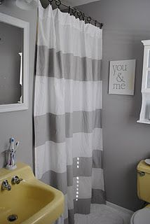 painted striped shower curtain = white twin sheet!