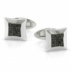 Sterling Silver 1/4 CT TDW Round Black Diamond Cuff link Pin Amour. $163.99