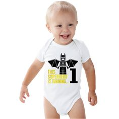 This Superhero Bati-Lego is 1 Birthday Boy Bodysuit by bodysuitsbynany on Etsy