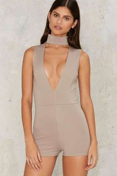 Factory Sweet as Can V Mock Neck Romper - Gray