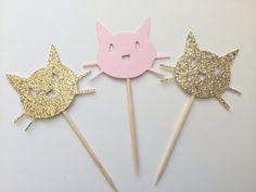 20 Gold & Pink Kitty Cat Cupcake Toppers.  Kitty Cat Party.  Cupcake Decor…