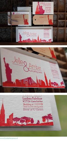 #trouwkaart en save the date #letterpress, wedding in New York. Design en gedrukt door www.loveletterpress.nl
