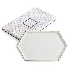 White & Gold Hexagonal Tray