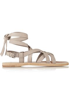 Slight heel Beige suede Ties at ankle, buckle-fastening slingback strap Designer color: Quarzo