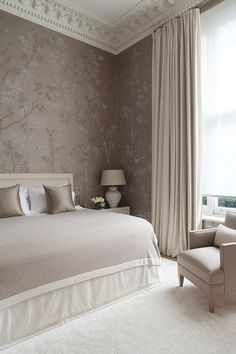 Beautiful taupe & white bedroom.- Tuba TANIKminus the wallpaper, everything is stunning