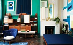 """The home of Florence Lopez, bold and colorful design via Jest Cafe's blog. """"Lopez, a Parisian antique art dealer that has decorated her apartment 18 times in the last 24 years… look at this painted mural in her studio, inspired by Brazilian landscape artist Roberto Burle Marx…"""""""