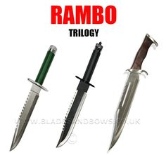 Rambo Knife Trilogy Set Rambo 1 2 and 3 collectors set Buy all 3 rambo knives in one go and get the set for just pound 39 99 Sizes Rambo First Blood