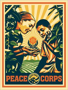 shepard fairy designed this for the peace corps this year for the 50th anniversary (his sister was a pcv in togo)