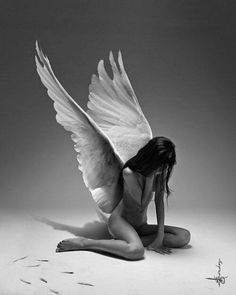 Shared by Brutal Fantasy. Find images and videos about black and white, angel and wings on We Heart It - the app to get lost in what you love. Angels Among Us, Angels And Demons, Fallen Angels, Dark Angels, Angeles, Angel Warrior, Ange Demon, Mystique, Foto Art