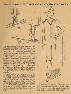 """In this tip for home sewers, Ruth Wyeth Spears notes the """"new"""" trend of top-stitching, and how this machine stitching adds a smart, tailored. Doll Dress Patterns, Costume Patterns, Sewing Patterns, Fashion Design Template, Pattern Fashion, 1920s Outfits, Vintage Outfits, Vintage Patterns, Vintage Sewing"""