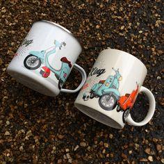 Tazas divertidas de latón y cerámica. Diseños de motocicletas y scooters #tazas #motos #scooter