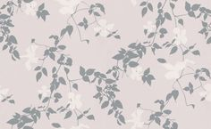 Wonderful Clematis (393025) - Brewers Wallpapers - A finely drawn clematis vine in silver metallic with white flowers on a very pale clover lilac background. Paste the wall. Please request sample for true colour match.
