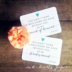 maid of honour honor bridesmaid wedding card announcements gift present vintage rustic