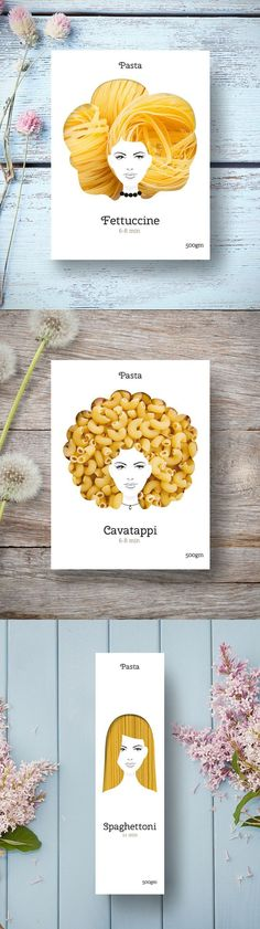 Product photography | Clever packaging | These playful pasta packages make noodles look like all types of hair.