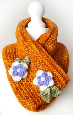 Beautiful Country Garden Cowl crochet pattern with flowers by Little Doolally using Malabrigo Sunset