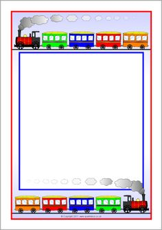 Train Themed Page Borders Page Boarders, Boarders And Frames, Printable Labels, Printable Paper, Printables, Train Crafts, Scrapbook Frames, Border Design, Page Borders Design