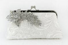 Ivory Bridal Lace Clutch with Rhinestone Lace Brooch par ANGEEW, $105,00