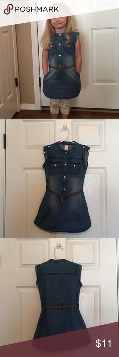 Carter's Dress-sleeveless denim w/belt Cute wear anywhere lightweight denim dress in excellent condition! Wear in Winter with a turtleneck underneath or in Spring all by itself. 100% cotton. Machine wash and dry. Carter's Dresses Casual