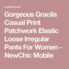 Gorgeous Gracila Casual Print Patchwork Elastic Loose Irregular Pants For Women - NewChic Mobile Gypsy Style, Chic Outfits, Latest Fashion Trends, Pants For Women, Casual, Clothes, Gypsy Fashion, Ann, Buttons