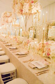 Blush, white and gold reception styling by Karen Tran | Ted and Li Photography | See more: http://theweddingplaybook.com/luxurious-wedding-reception-inspiration/