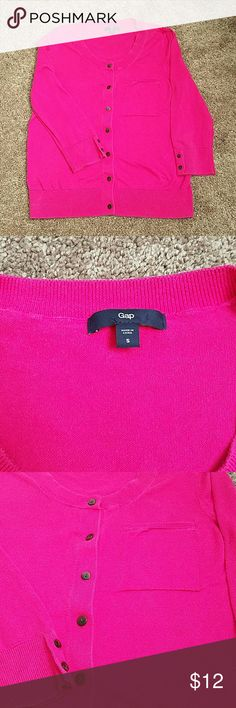 Pink Gap Cardigan EUC Adorable bright pink Gap cardigan with 3/4 length sleeves. One pocket on the front and buttons down the front as well as 2 on each sleeve for a cute touch. GAP Sweaters Cardigans