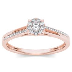 De Couer 10k Rose Gold 1/6ct TDW Diamond Flower Shape Engagement Ring (H-I, I2)