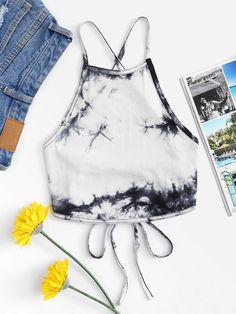 Shop Lace Up Back Tie Dye Halter Top at ROMWE, discover more fashion styles online. Teen Fashion Outfits, Outfits For Teens, Girl Outfits, Girl Fashion, Cute Summer Outfits, Cute Outfits, Diy Tie Dye Shirts, Tie Dye Fashion, Vetement Fashion
