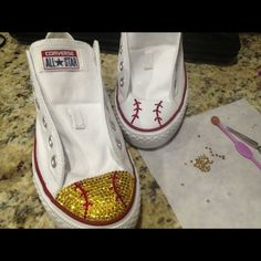 Softball color converse Bling it made to order Shoes Sneakers