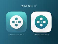 円の比率・グラデーション・グリッドの透かし具合がナイス!  iOS7 Icon - Moviens by Leonard Latescu